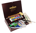 Artists' Water Colour Woden Box Set Small Half Pan