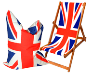 Union Jack deckchair and beanbag by Eyes Wide Digital