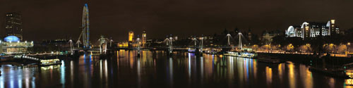 London Waterloo Bridge Panoramic Facing West